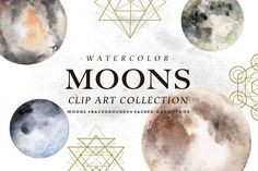 Watercolor Moons + Bonus - Illustrations - 1