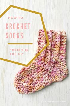 In this post, expert Vickie Howell shows how to crochet socks using any type of yarn. She also offers a video tutorial plus free baby sock pattern. Crochet Sock Pattern Free, Crochet Baby Mittens, Crochet Baby Blanket Beginner, Crochet Stitches Patterns, Crochet Baby Booties, How To Crochet Socks, Free Crochet, Crochet Shoes, Crochet Slippers