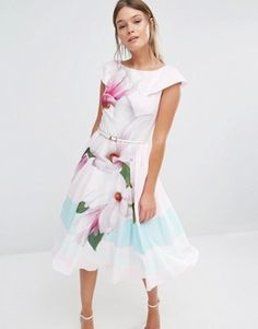 Ted Baker Bromlie Prom Dress in Pink Magnolia Print
