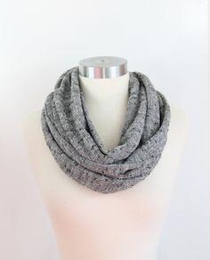 Loose SlubSweater Knit Infinity Scarf Heather Grey Soft by IMORIAH, $19.95 Etsy Beautiful knubby heathered grey