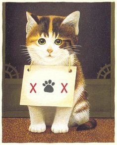 """Lowell Herrero (kitty with a sign around its neck with a paw print and an """"x"""" on each side)"""