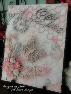 Gina's Designs Mixed Media Canvas by Scraphappily - Cards and Paper Crafts at Splitcoaststampers Mixed Media Journal, Mixed Media Canvas, Mixed Media Collage, Altered Canvas, Shabby, Paper Art, Paper Crafts, Paper Collages, Canvas Art