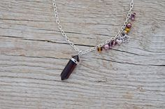 Christmas SALE - Red tigers eye hexagonal necklace - july birthstone - gemstone crystal point pendant, reiki semiprecious * FREE SHIPPING