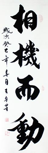 Right Time Right Action Chinese Calligraphy Wall Scroll :