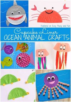 Preschool Ocean Animal Cupcake Liner Crafts – Easy Peasy and Fun - Preschool Children Activities Sea Animal Crafts, Animal Crafts For Kids, Diy Crafts For Kids, Easy Crafts, Art For Kids, Craft Ideas, Diy Ideas, Zoo Crafts, Ocean Crafts