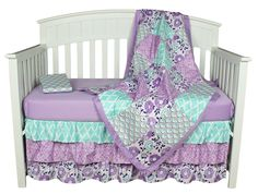 Purple Baby Bedding, Zoe 4-In-1 Crib Bedding Set by The Peanut Shell