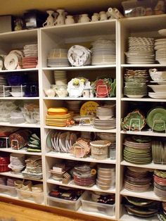 "Check out this ""butler's pantry"" and all the dishes for tablescapes and dishes!!!  I would love to have room for this!"