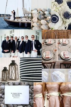 Nautical wedding. Light pink and navy blue