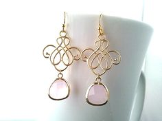 Royal Flower with Ice Pink Gold Earrings