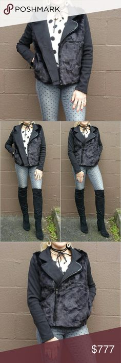 """Faux fur detailed moto jacket LIMITED QUANTITY,Don't miss out! Brand new with tags Boutique item Price is firm  Add a new twist to the ordinary moto jacket with this Sassy & Edgy faux fur detailed jacket! This fabulous jacket features, faux fur front, pockets & zip details. Easy to grab and go. I am loving this piece. I am so pleases with the quality of this item!   Small Bust 37""""around/ Length 22"""" Medium Bust 38.5""""around/Length 22"""" Large Bust 40"""" around/Length 23"""" Polyester/acrylic/spandex…"""