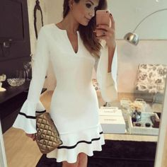 ecc2c647ba New Fashion Womens Elegant Mermaid Tunic Party Dress Ladies Long Sleeve  Sexy Pencil Sheath Bodycon Mini White Dress