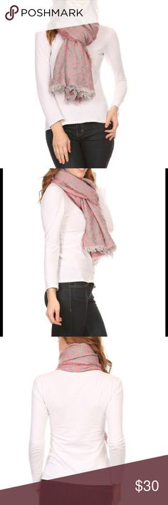 LONG ANIMAL TAPESTRY JACQUARD SCARF GORGEOUS SCARF!! Grey w pink w metallic thread. Fringe around entire border.  28 x 80. GREAT for a cool night on the beach. Great for fall. Stunning gift. New without tags. Accessories Scarves & Wraps
