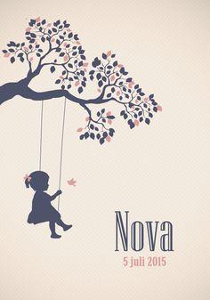 Geboortekaartje Nova - Pimpelpluis - https://www.facebook.com/pages/Pimpelpluis/188675421305550?ref=hl (# meisje - schommel - vogel - boom - roze - silhouet - origineel)