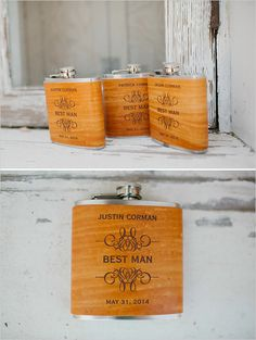 Best Man Gift Idea: custom flasks.