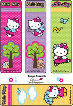 Bookmarks, Hello Kitty, Bookmarks - Free Printable Ideas from Family Shoppingbag.com