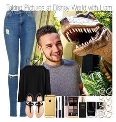 """""""Taking Pictures at Disney World with Liam"""" by elise-22 ❤ liked on Polyvore featuring Topshop, Boohoo, Zara, Stila, shu uemura, Goldgenie, NARS Cosmetics, Tom Ford, Robert Piguet and Butter London"""