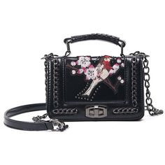 Embroidered Cross Body Chains Bag (200 GTQ) ❤ liked on Polyvore featuring bags, handbags, shoulder bags, crossbody purses, embroidery purse, embroidered purse, crossbody handbags and embroidery handbags