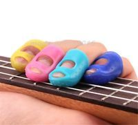 4PCS Anti-skidding Guitar Bass Silicone Finger Picks Protector Plectrum