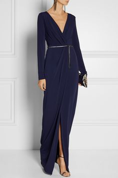 Halston Heritage | Wrap-effect stretch-jersey gown | NET-A-PORTER.COM
