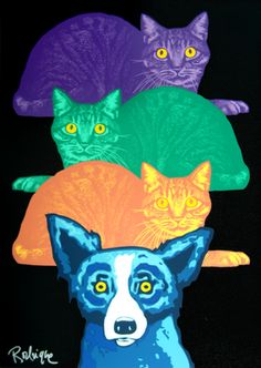 Blue Dog and Mardi Gras Cats