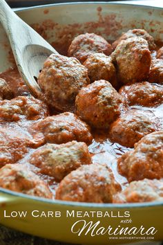 Moist and tender Low Carb Meatballs simmered in a delicious marinara. Serve over pasta or enjoy topped with melted mozzarella and freshly chopped basil.