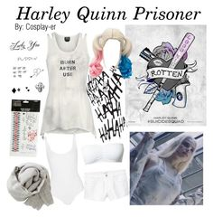 """""""Harley Quinn Prisoner"""" by cosplay-er ❤ liked on Polyvore featuring Wolford, Brunello Cucinelli and MANGO"""