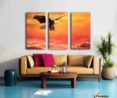Triptych, eagle,painting,wall,art,wildlife,sky,sunset,sunrise,orange,home,office,decor,bright,beautiful,images,artwork,for,sale,modern,contemporary,awesome,cool,scenic,big,bird,bald,flying,soaring,light,fine,oil,items,ideas,panels,stretched,split,canvas