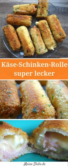 Käse-schinken-rolle mit toast in knuspriger parmesan-panade Cheese and ham rolls with toast in crunchy parmesan breading. Cheese Appetizers, Easy Appetizer Recipes, Party Food Meat, Meat Recipes, Snack Recipes, Ham Rolls, Pizza Snacks, Food Tags, Exotic Food