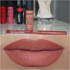 NYX cosmetics lip liner in Nutmeg & soft matte lip cream in London Makeup To Buy, Makeup Swatches, Kiss Makeup, Makeup Dupes, Makeup Case, Love Makeup, Makeup Inspo, Beauty Makeup, Makeup Black
