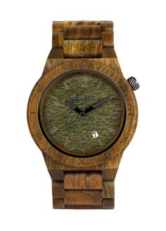 Eco friendly WeWood watch - the Alpha Army. 100% natural, sustainably-sourced wood. $140, Eco Guardian. Wood Watch, Eco Friendly, Army, Watches, Natural, Style, Gi Joe, Wrist Watches, Wooden Watch
