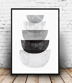 Monochrome art, Black and white print, Abstract poster, scandinavian design, watercolor abstract, modern art, gray decor, wall print, simple