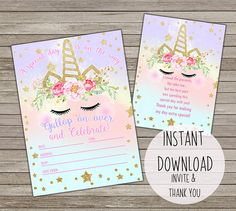 A Unicorn Themed Party Invitation Can Be Used For Multiple Events Not Just Birthdays Includes 2 PDF Files To Page Invites 4 Thank You