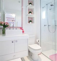 Omit the pink, and this can be great for a small bathroom. Construindo Minha Casa Clean: Banheiros e Lavabos! Bathroom Storage, Bathroom Interior, Small Bathroom, Bathroom Shelves, White Bathroom, Sink Shelf, Bathroom Ideas, Bad Inspiration, Bathroom Inspiration