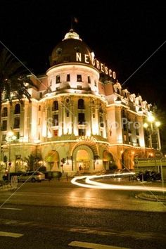 The Hotel Negresco at night Cote d Azur in Nice South of France