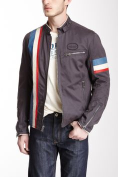 Leather Trim Cafe Racer Jacket