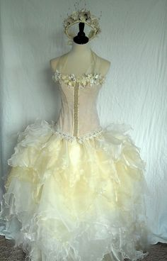 orgaza fairy skirt | Fairy Tale Bride -- Lavish lace and pearl trimmed Corset with organza ...