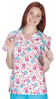White Cross 100% Cotton Somebunny Loves You V-Neck Scrub Top - Great for Easter and Spring! Veterinary Scrubs, Somebunny Loves You, Cute Scrubs, Uniform Advantage, Scrub Life, Medical Uniforms, White Crosses, Scrub Tops, Exclusive Collection