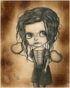 Taradolls Drawing Painting on Wood Blythe Doll Art OOAK Big Eyes Fantasy Framed | eBay