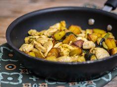 Patate, zucchine e pollo al curry