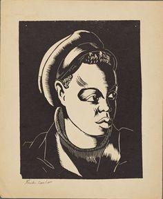 Portrait Boy in a Workman's Cap by Fred Carlo 1911-1987 WPA Artist Printmaker #WoodcutStyleLithograph
