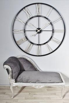 large black silver iron skeleton clock extra large wall