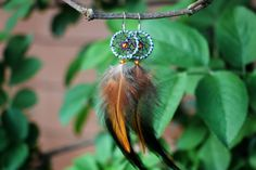 Striped Blue And Orange Dream Catcher Earrings by nZuriArtDesigns