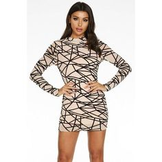 Buy Nude and Black Geometric Long Sleeve Bodycon Dress online now from Quiz. Bodycon Dress With Sleeves, Black Bodycon Dress, Dress Black, High Neck Dress, Fashion Outfits, Lady, Long Sleeve, Model, How To Wear