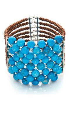 Design del Gioiello - Multi-Strand Bracciale con turchese branelli della pietra preziosa e perle di legno - Fire Mountain gemme e perline