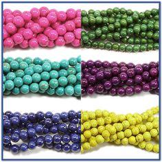 Glossy howlite/magnesite gemstone beads #beading