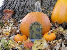 Fairy Door - Also, hollow out the pumpkin, give it windows, and light it for halloween