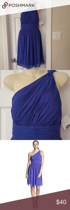"Donna Morgan RHEA chiffon ruched dress bridesmaid Beautiful bluish purple ""sapphire"" Rhea style one shoulder fully lined side zip chiffon bridesmaid, prom,formal, cocktail NWT SEE PICS, on strap has been slightly altered. Donna Morgan Dresses"