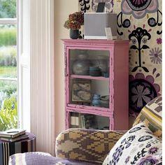 Patterned pastel living room | Living room storage ideas
