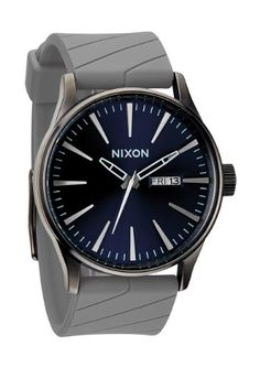 Men's Wrist Watches - Nixon Mens Sentry Quartz Stainless Steel and Rubber Automatic Watch ColorGrey Model A027125800 *** Click image to review more details. (This is an Amazon affiliate link)