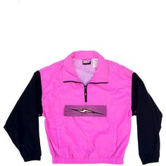 Electric 90s Neon Purple Bolt Windbreaker - M ($40) ❤ liked on Polyvore featuring activewear, activewear jackets, jackets, pink, tops and neon activewear